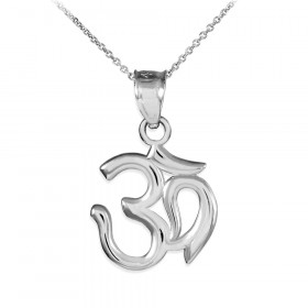 Om (Ohm) Pendant Necklace in 9ct White Gold