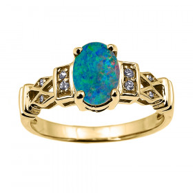 0.95ct Opal and Diamond Australian Doublet Engagement Ring in 9ct Gold