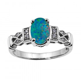 0.95ct Opal and Diamond Australian Doublet Engagement Ring in 9ct White Gold