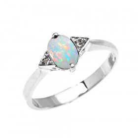 0.5ct Opal and White Topaz Oval Engagement Ring in 9ct White Gold