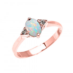 0.5ct Opal and White Topaz Oval Promise Engagement Ring in 9ct Rose Gold