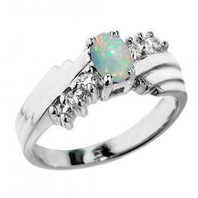 0.5ct Opal and White Topaz Ring in Sterling Silver