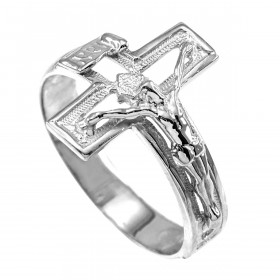 Open Crucifix Cross Ring in 9ct White Gold