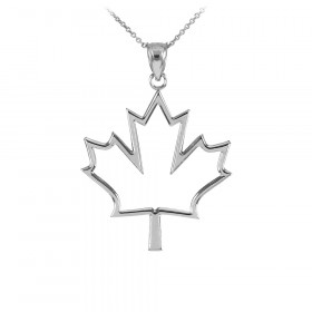 Open Design Maple Leaf Pendant Necklace in 9ct White Gold