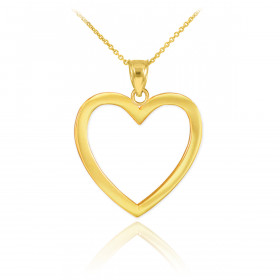 Open Heart Pendant Necklace in 9ct Gold