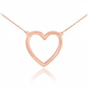 Open Heart Pendant Necklace in 9ct Rose Gold