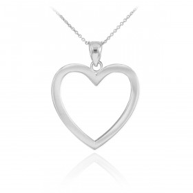 Open Heart Pendant Necklace in 9ct White Gold