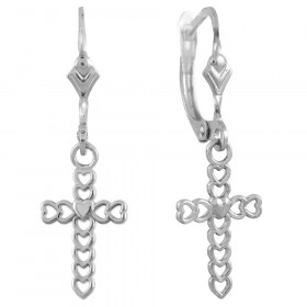 Open Hearts Drop Cross Earrings in 9ct White Gold