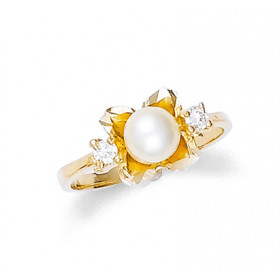 Pearl and CZ Flower Ring in 9ct Gold