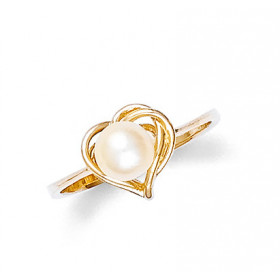 Pearl Heart Shaped Ring in 9ct Gold