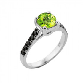 1.0ct Peridot and Black Diamond Engagement Ring in 9ct White Gold
