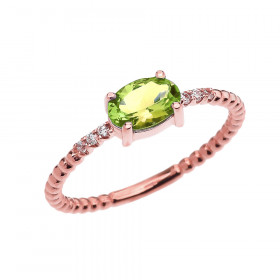 0.6ct Peridot and Diamond Beaded Band Engagement Ring in 9ct Rose Gold