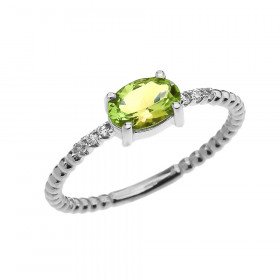 0.6ct Peridot and Diamond Beaded Band Engagement Ring in 9ct White Gold