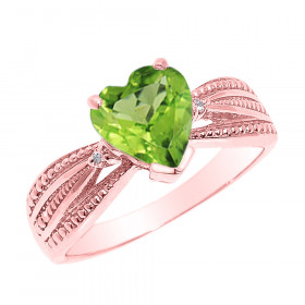 1.0ct Peridot and Diamond Beauty Engagement Ring in 9ct Rose Gold