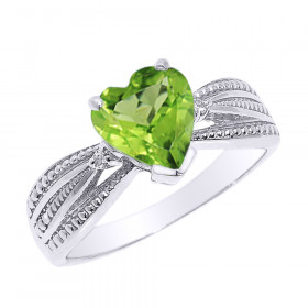 1.0ct Peridot and Diamond Beauty Engagement Ring in 9ct White Gold