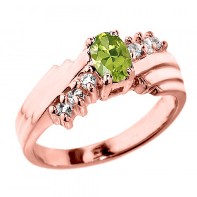 0.5ct Peridot and Diamond Dazzle Ring in 9ct Rose Gold