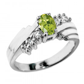 0.5ct Peridot and Diamond Dazzle Ring in 9ct White Gold