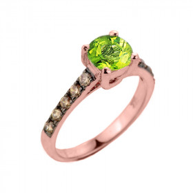 1.0ct Peridot and Diamond Engagement Ring in 9ct Rose Gold