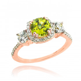 Peridot and Diamond Engagement Ring in 9ct Rose Gold