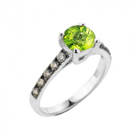 1.0ct Peridot and Diamond Engagement Ring in 9ct White Gold