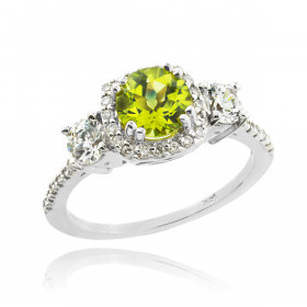 Peridot and Diamond Engagement Ring in 9ct White Gold