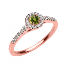 0.15ct Peridot and Diamond Halo Engagement Ring in 9ct Rose Gold