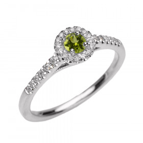 0.15ct Peridot and Diamond Halo Engagement Ring in 9ct White Gold