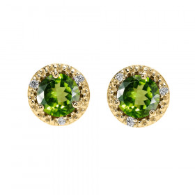 1.8ct Peridot and Diamond Halo Stud Earrings in 9ct Gold