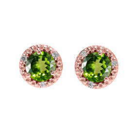 1.8ct Peridot and Diamond Halo Stud Earrings in 9ct Rose Gold