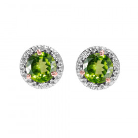 1.8ct Peridot and Diamond Halo Stud Earrings in 9ct Two-Tone Gold
