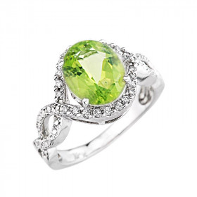 3.49ct Peridot and Diamond Infinity Halo Engagement Ring in 9ct White Gold