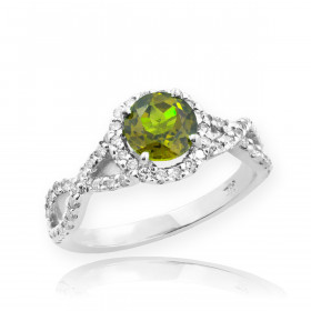 0.6ct Peridot and Diamond Infinity Halo Engagement Ring in 9ct White Gold