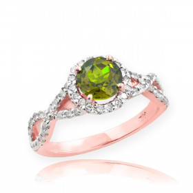 0.6ct Peridot and Diamond Infinity Ring in 9ct Rose Gold