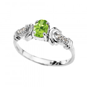 0.25ct Peridot and Diamond Oval Engagement Ring in 9ct White Gold