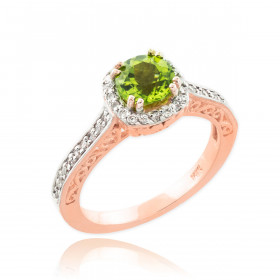 Peridot and Diamond Pave Halo Engagement Ring in 9ct Rose Gold