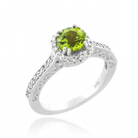 Peridot and Diamond Pave Halo Engagement Ring in 9ct White Gold