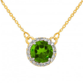 1.0ct Peridot and Diamond Pendant Necklace in 9ct Gold