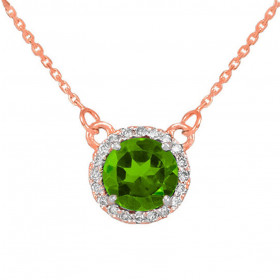 1.0ct Peridot and Diamond Pendant Necklace in 9ct Rose Gold