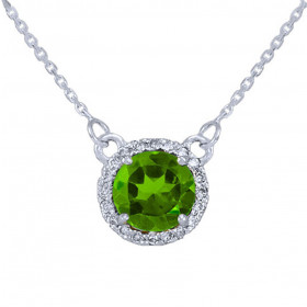1.0ct Peridot and Diamond Pendant Necklace in 9ct White Gold