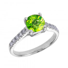 1.0ct Peridot and Diamond Solitaire Engagement Ring in 9ct White Gold