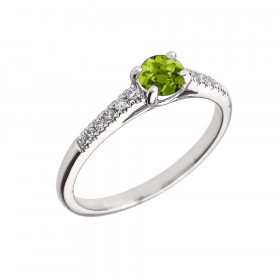 0.5ct Peridot and Diamond Solitaire Engagement Ring in 9ct White Gold