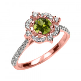 0.5ct Peridot and Diamond Vintage Engagement Ring in 9ct Rose Gold