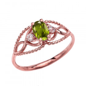 0.25ct Peridot Elegant Beaded Twisted Rope Ring in 9ct Rose Gold
