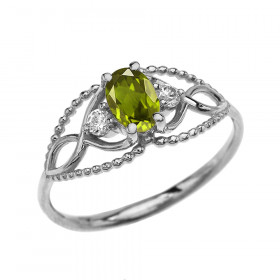 0.25ct Peridot Elegant Beaded Twisted Rope Ring in 9ct White Gold