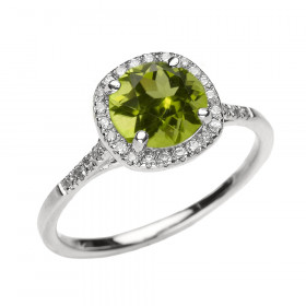 1.49ct Peridot Halo Engagement Ring in 9ct White Gold