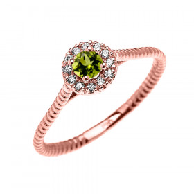 0.08ct Peridot Halo Rope Design Promise Twisted Rope Ring in 9ct Rose Gold