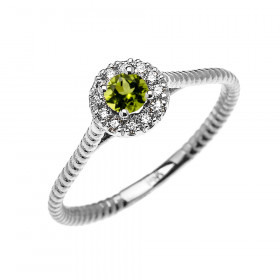 0.08ct Peridot Halo Rope Promise Twisted Rope Ring in 9ct White Gold
