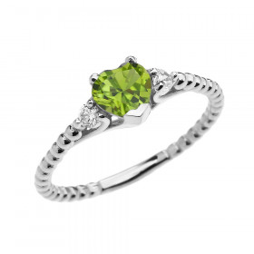 0.6ct Peridot Heart Beaded Band Promise Ring in 9ct White Gold