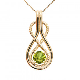 0.22ct Peridot Infinity Rope Pendant Necklace in 9ct Gold