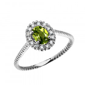 0.25ct Peridot Oval Halo Rope Promise Ring in 9ct White Gold